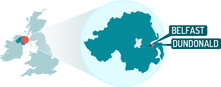 Northern Ireland map with Belfast and Dundonald highlighted