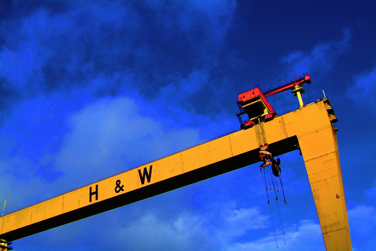 Huge yellow crane with the letters H & W in black